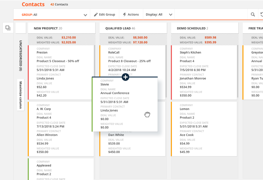 Visualize Your Contacts and Pipelines With Card View